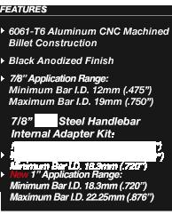 """7//8/"""" Billet Internal Bar End Mirror Adapter Mount For Arrow Hindsight LS CRG"""